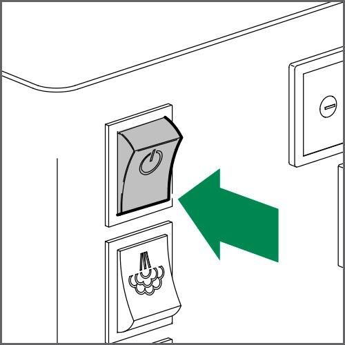 Zum Einschalten der Maschine den Netzschalter auf ON stellen