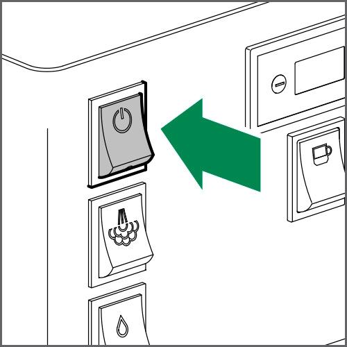 Zum Ausschalten der Maschine den Netzschalter auf OFF stellen